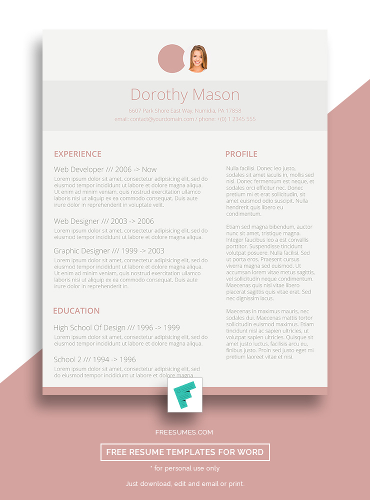 Free Resume Design for the Ladies Simple in Pink - Freesumes