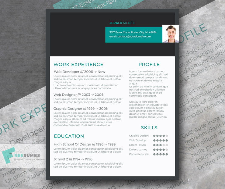 Modern Resume Design Freebie Stylish Header - Freesumes