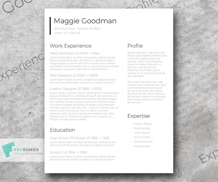Free Classic and Sleek Resume Template - Freesumes