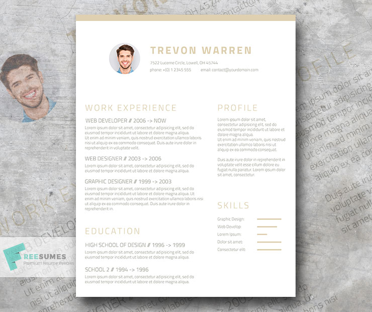 Free Clean Resume Template for Word - Champagne  Wine - Freesumes - clean resume template