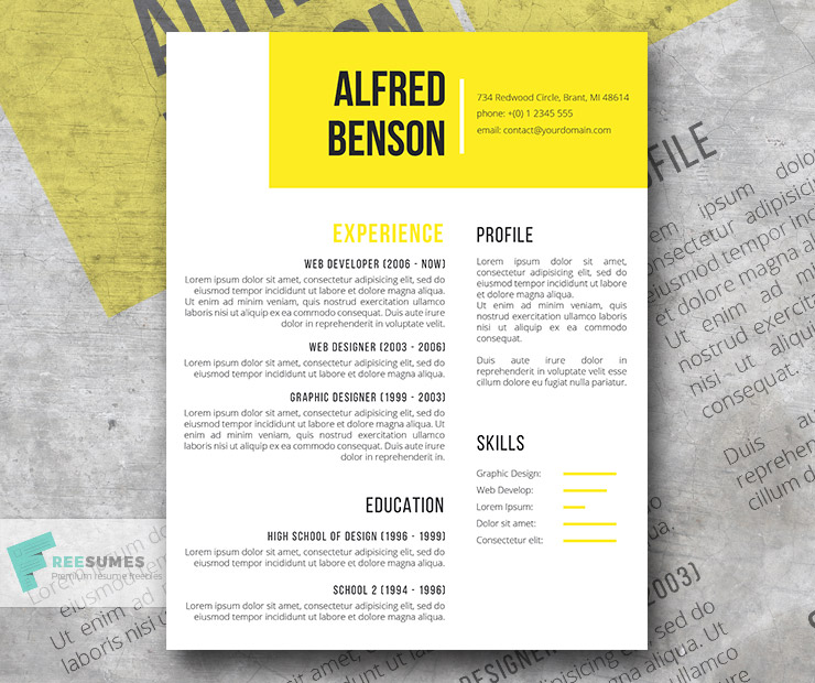 Electric Yellow A Free Creative Resume Template for Word - Freesumes - creative resume template word