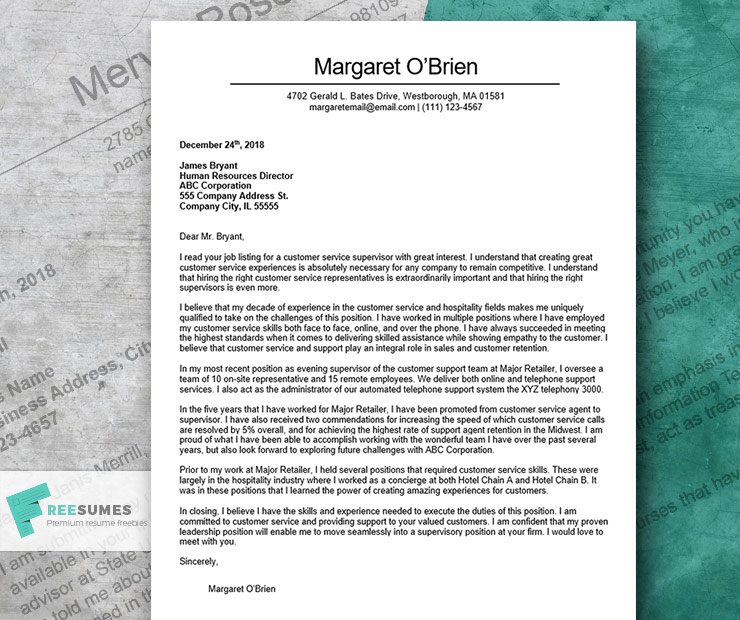 The Finest Cover Letter Example For Customer Service - Freesumes
