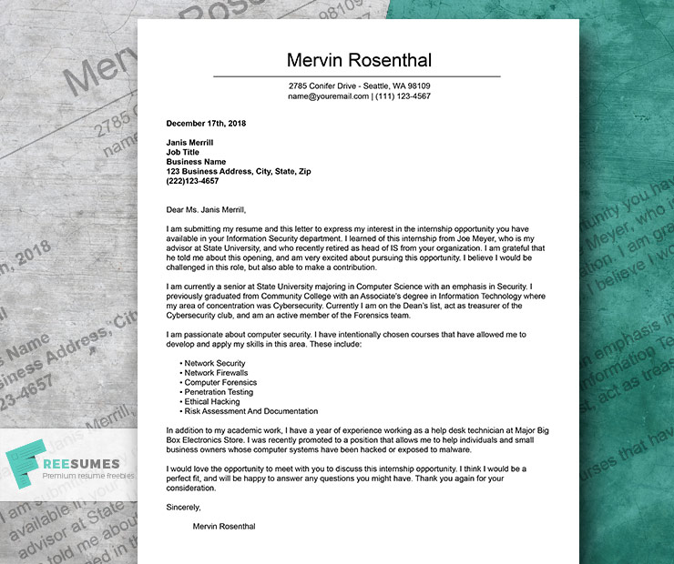 The Only Cover Letter Example For an Internship You Will Ever Need