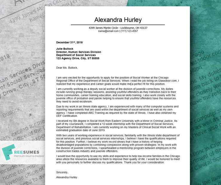 Excellent Cover Letter Example For a Social Worker - Freesumes