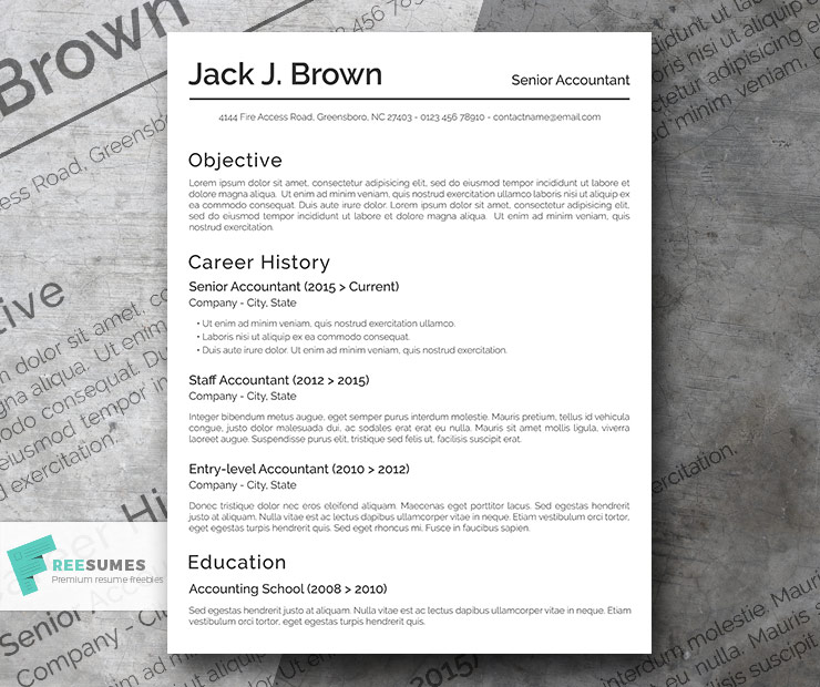 Free Basic Resume Template - The Conservative - Freesumes