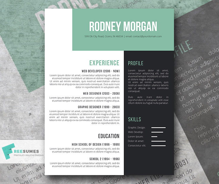 resume template black and green