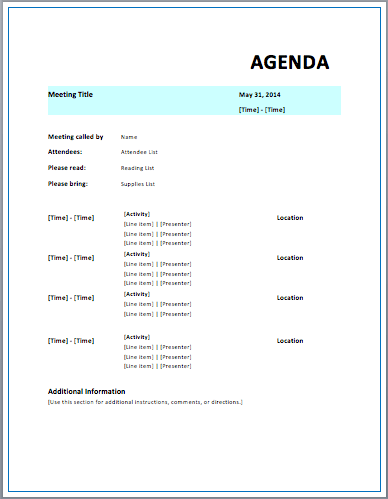 Meeting Agenda Outline Template | Resumes Cv Examples Galery