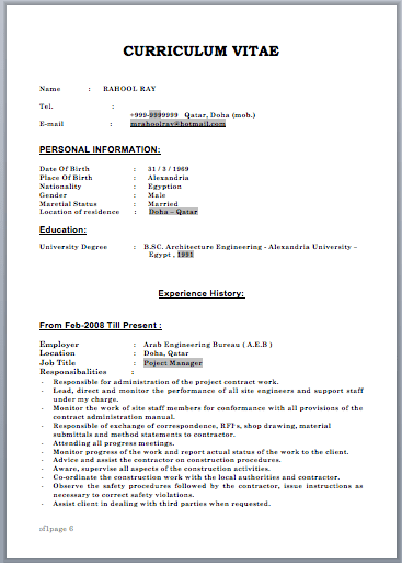 sample resume for construction project manager - Construction Project Manager Sample Resume