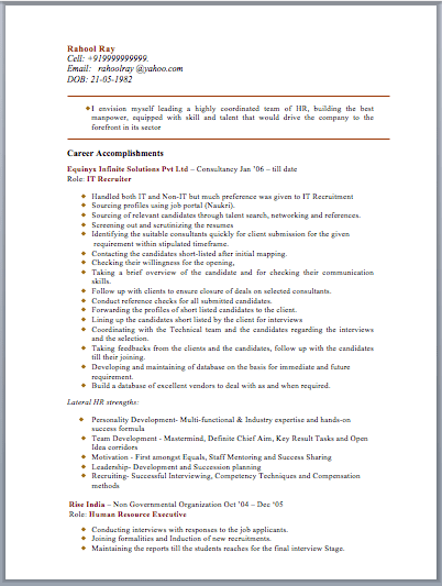 Sample Resume For Hr Personnel Professional resumes example online