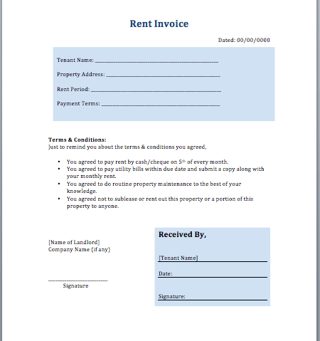 invoice for rent, Invoice templates