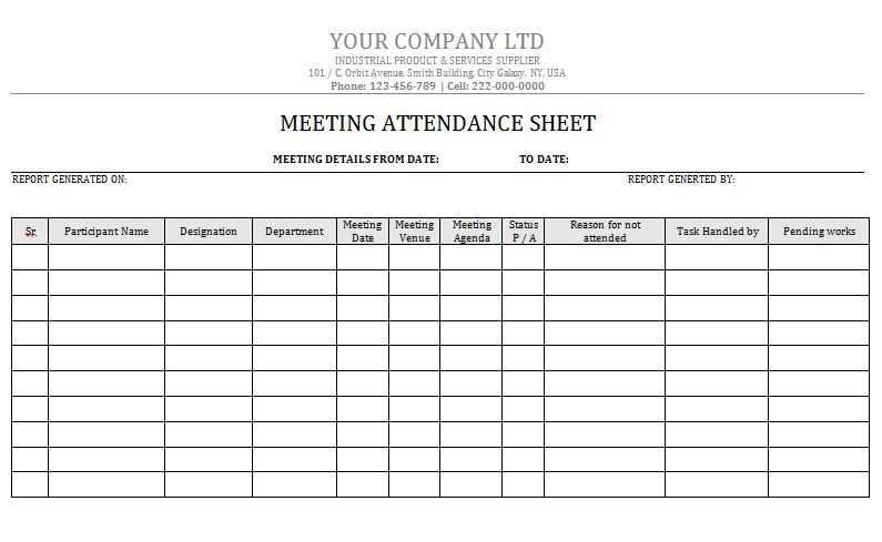 38 Free Printable Attendance Sheet Templates \u2013 Free Template Downloads