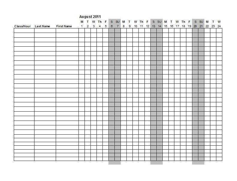 38 Free Printable Attendance Sheet Templates u2013 Free Template Downloads - attendance sheet template word