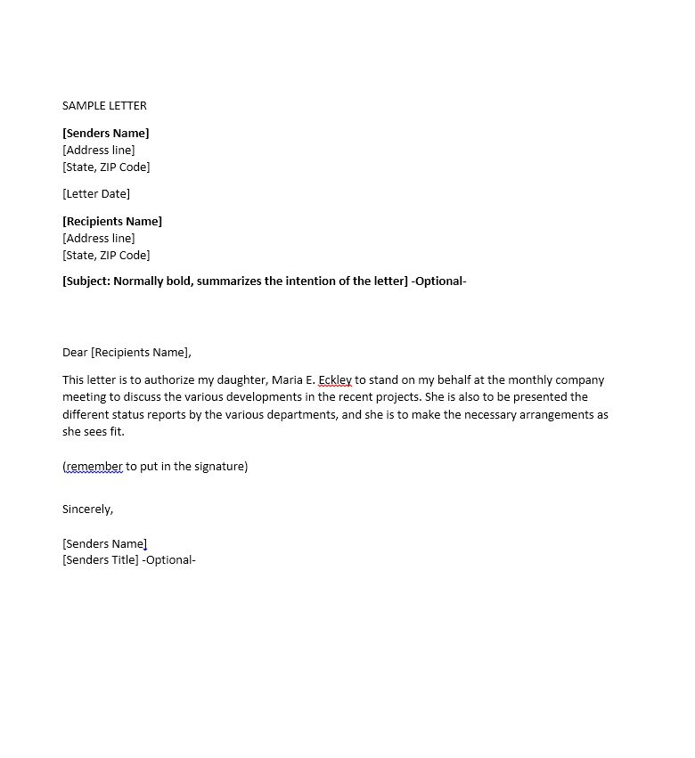 46 Free Authorization Letter Samples  Templates \u2013 Free Template - letters of authorization