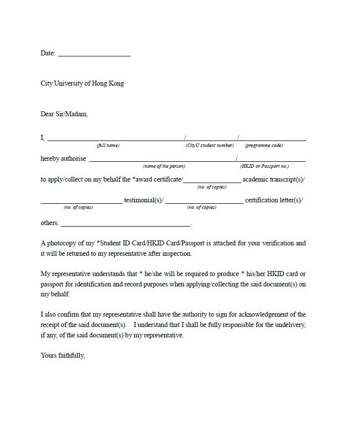46 Free Authorization Letter Samples  Templates \u2013 Free Template