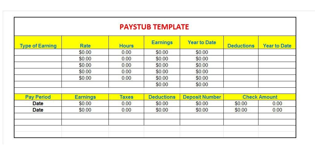 29 Great Pay Slip / Paycheck Stub Templates - Free Template Downloads