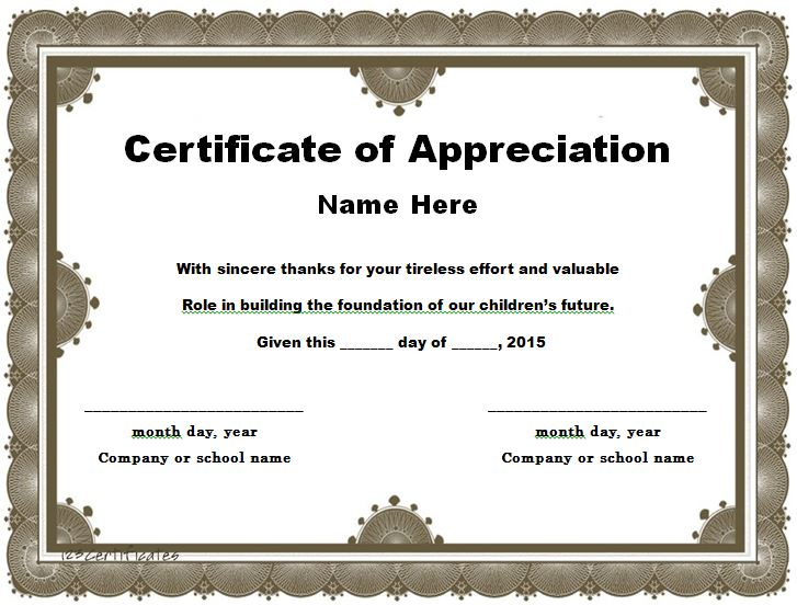 31 Free Certificate of Appreciation Templates and Letters \u2013 Free