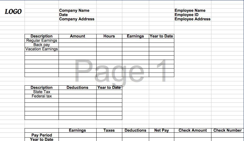 29 Great Pay Slip / Paycheck Stub Templates \u2013 Free Template Downloads