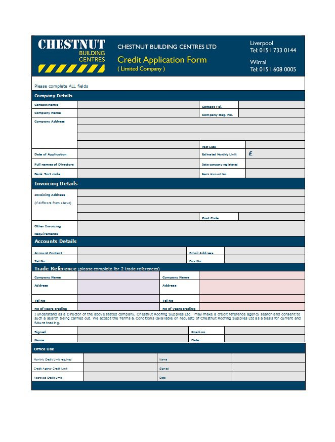 microsoft word credit application template - zrom
