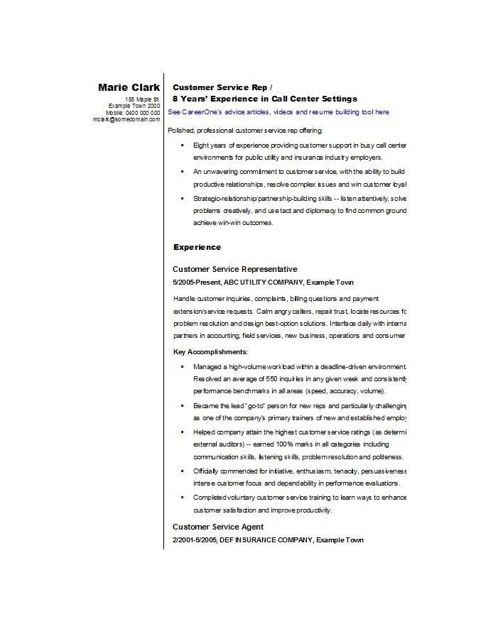 sample customer service resume | efficiencyexperts.us