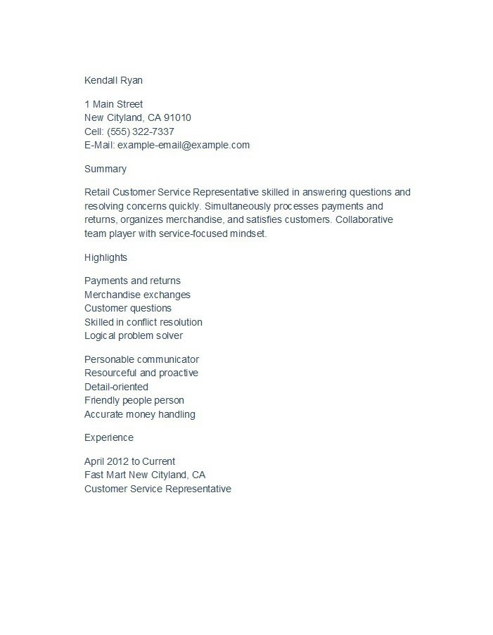 31 Free Customer Service Resume Examples \u2013 Free Template Downloads