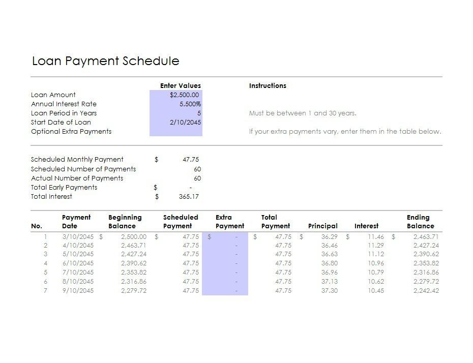 28 Tables to Calculate Loan Amortization Schedule (Excel) \u2013 Free