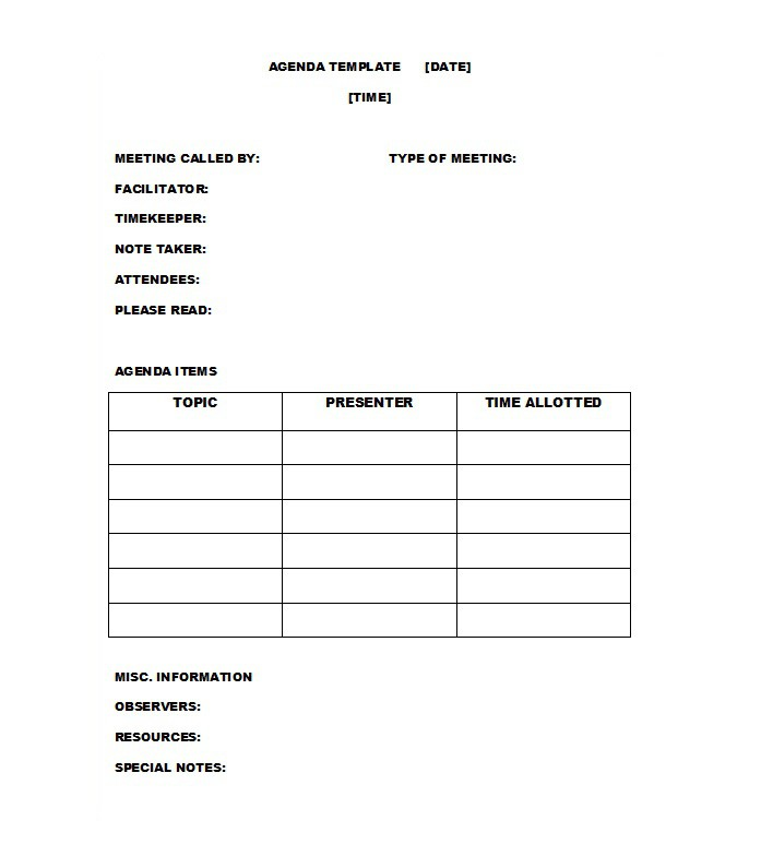51 Effective Meeting Agenda Templates \u2013 Free Template Downloads