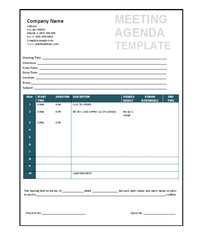 Meeting Agenda Template Free No Downloads – Free Agenda Templates