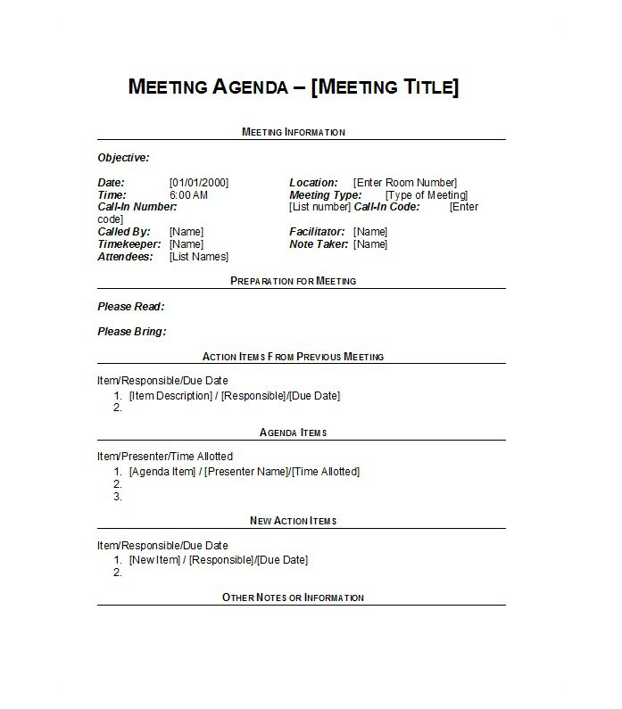 51 Effective Meeting Agenda Templates \u2013 Free Template Downloads - agenda for a meeting template