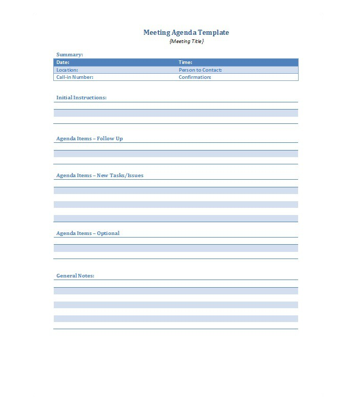 51 Effective Meeting Agenda Templates u2013 Free Template Downloads - meetings template