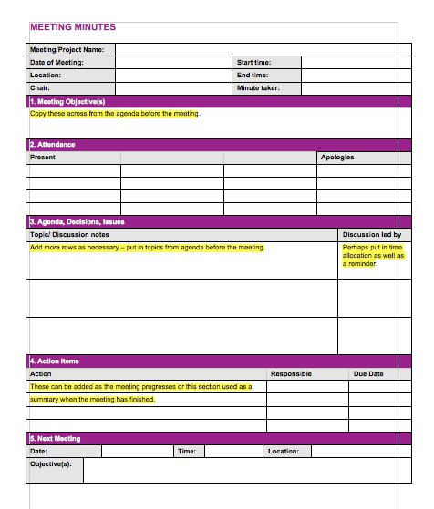 20 Handy Meeting Minutes  Notes Templates - Free Template Downloads