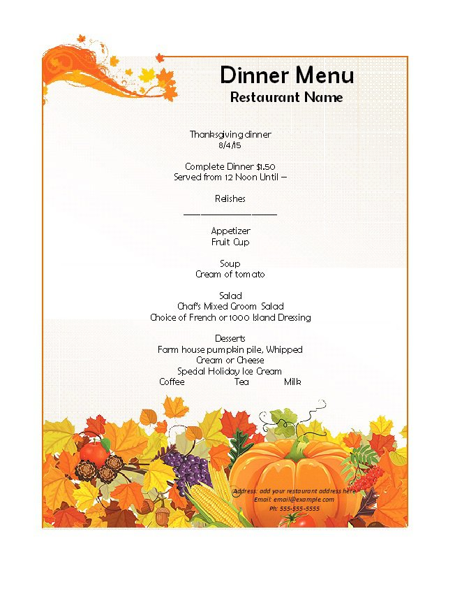 31 Free Restaurant Menu Templates  Designs \u2013 Free Template Downloads - dinner menu templates free