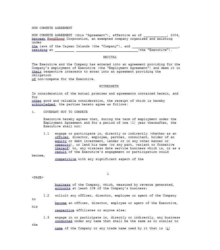 39 Ready-to-use Non-Compete Agreement Templates u2013 Free Template - business non compete agreement