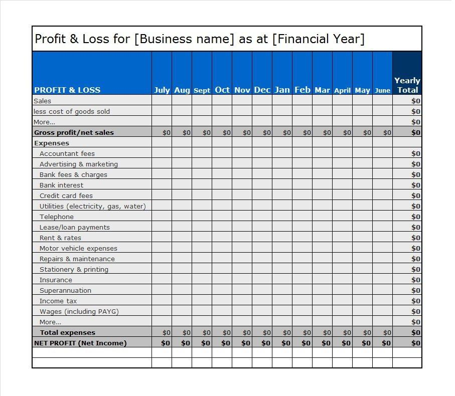 Profit And Loss Form Free Income Statement Template Examples - free statement forms