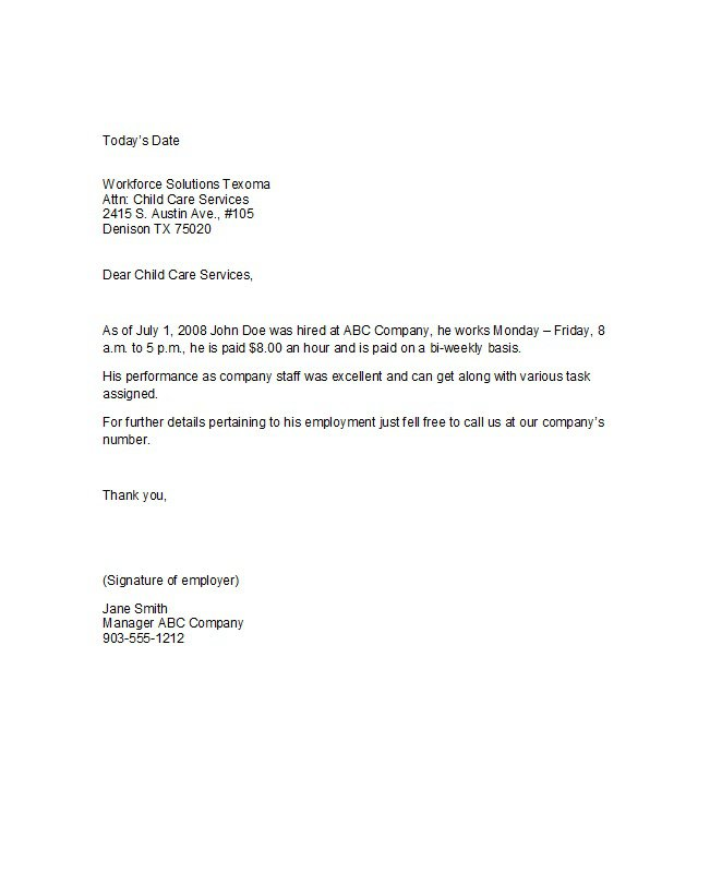 confirm employment letter