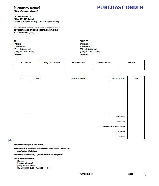 39 Free Purchase Order Templates in Word  Excel \u2013 Free Template