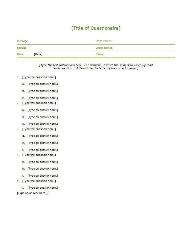33 Free Questionnaire Templates (Word) u2013 Free Template Downloads - survey template in word