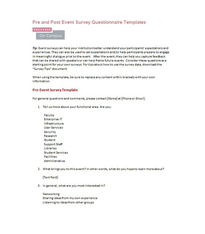 33 Free Questionnaire Templates (Word) \u2013 Free Template Downloads - word templates questionnaire