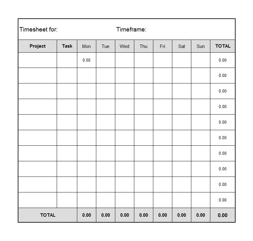 Blank Timesheet Template Biweekly Timesheet Template With Lunch - payroll templates free
