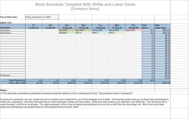 19 Perfect Daily Work Schedule Templates \u2013 Free Template Downloads - work schedule