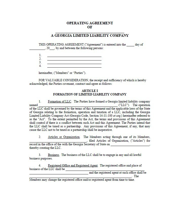 llc contract template - 28 images - llc operating agreement, doc - business operating agreement