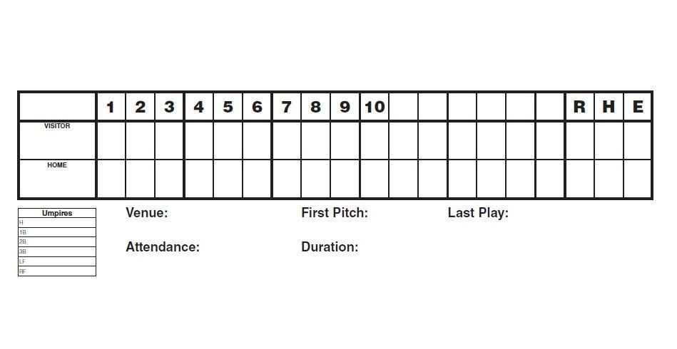 30+ Printable Baseball Scoresheet / Scorecard Templates - Free