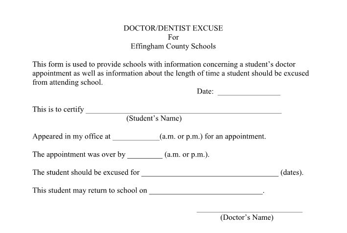 Doctors Note Doctor Or Dentist Note Template DoctorS Note Templates