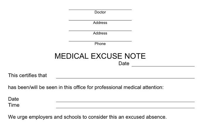 fake doctors note college