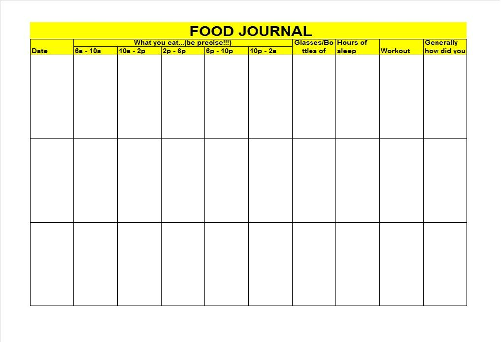 40 Simple Food Diary Templates  Food Log Examples \u2013 Free Template - food journal templates