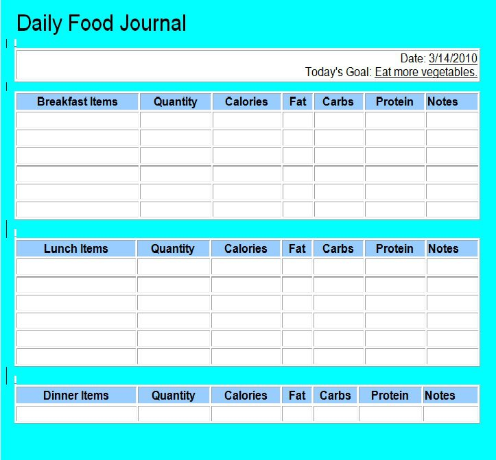 40 Simple Food Diary Templates  Food Log Examples - Free Template