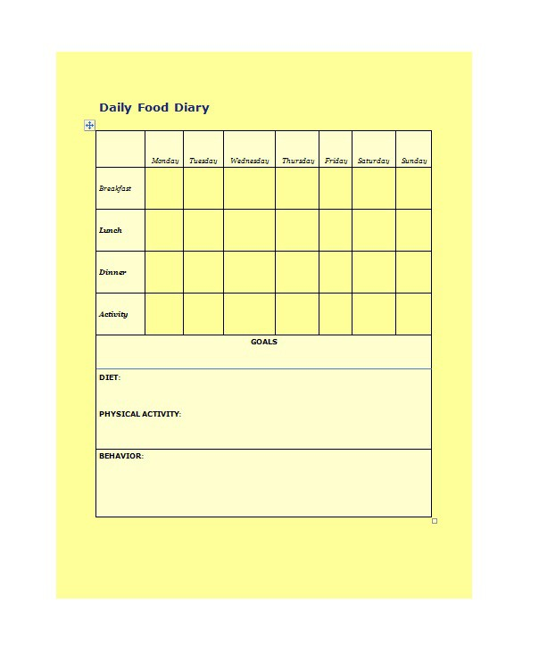40 Simple Food Diary Templates  Food Log Examples \u2013 Free Template - diary paper template