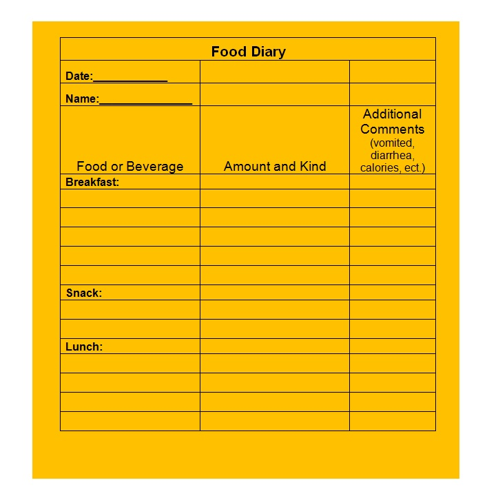 40 Simple Food Diary Templates  Food Log Examples \u2013 Free Template - food log templates