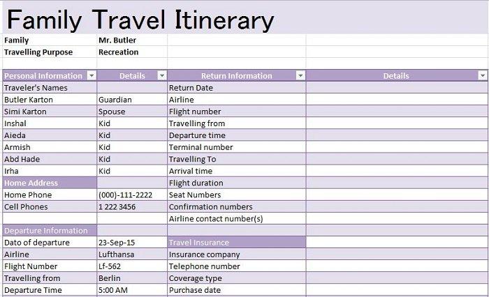 30+ Itinerary Templates (Travel, Vacation, Trip, Flight) - Free