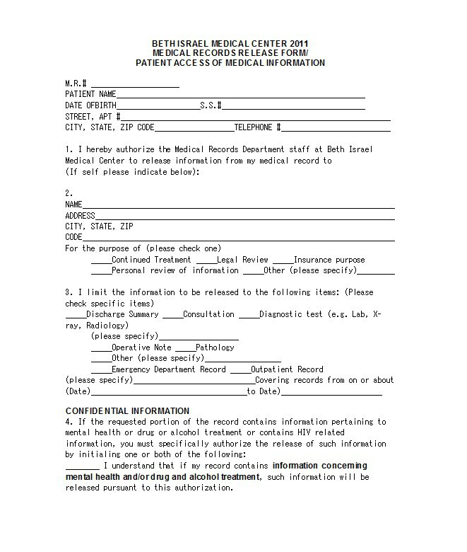 Release Of Personal Information Form - Template Examples - dental records release form