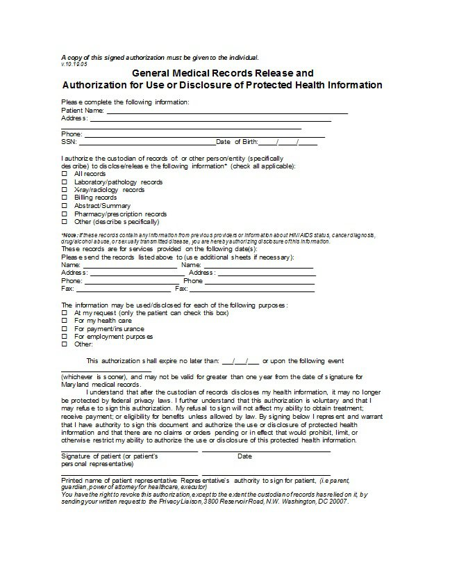 Authorization To Release Medical Records Form Sample  SaveBtsaCo
